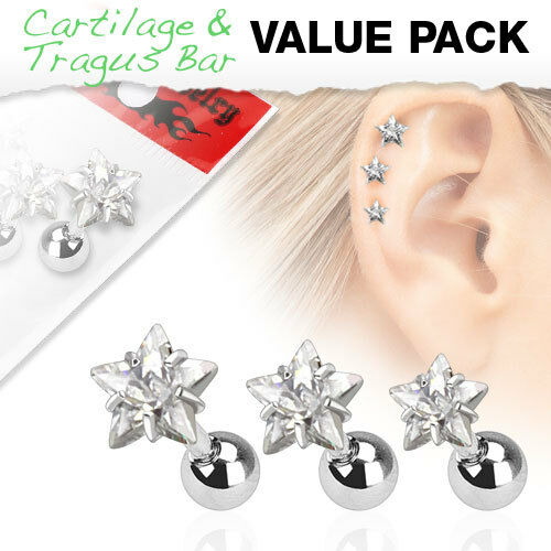 3er Set Helix Cartilage Ohr Piercing Kristall Strass Tragus Kugel Stern Herz NEU