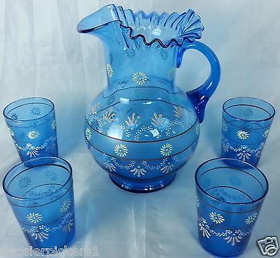 Antique Enameled Blue Pitcher 4 Tumblers Water Lemonade Set Victorian Hand paint