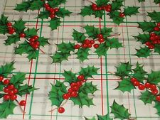VTG CHRISTMAS WRAPPING PAPER GIFT WRAP PLAID HOLLY BERRY GORGEOUS 1950 NOS