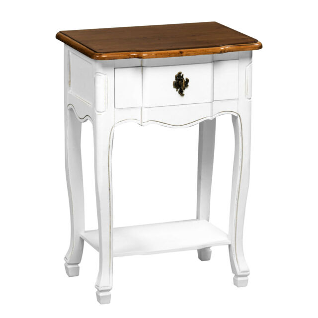 Antique Look White Wooden Side End Table Home Storage Organizer Drawer Unit