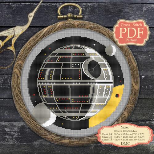 Estrella de la muerte-pdf de punto de cruz patrón Bordado Aro Art #055
