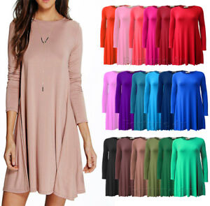 Women-039-s-Ladies-Plain-Long-Sleeve-Party-Skater-Swing-Dress-UK-Sizes-8-26