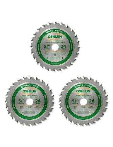 """Oshlun SBW-054024 5-3//8/"""" x 24T Blade  w//20mm Arbor w//5//8/"""" /& 10mm Bushing 3 Pack"""