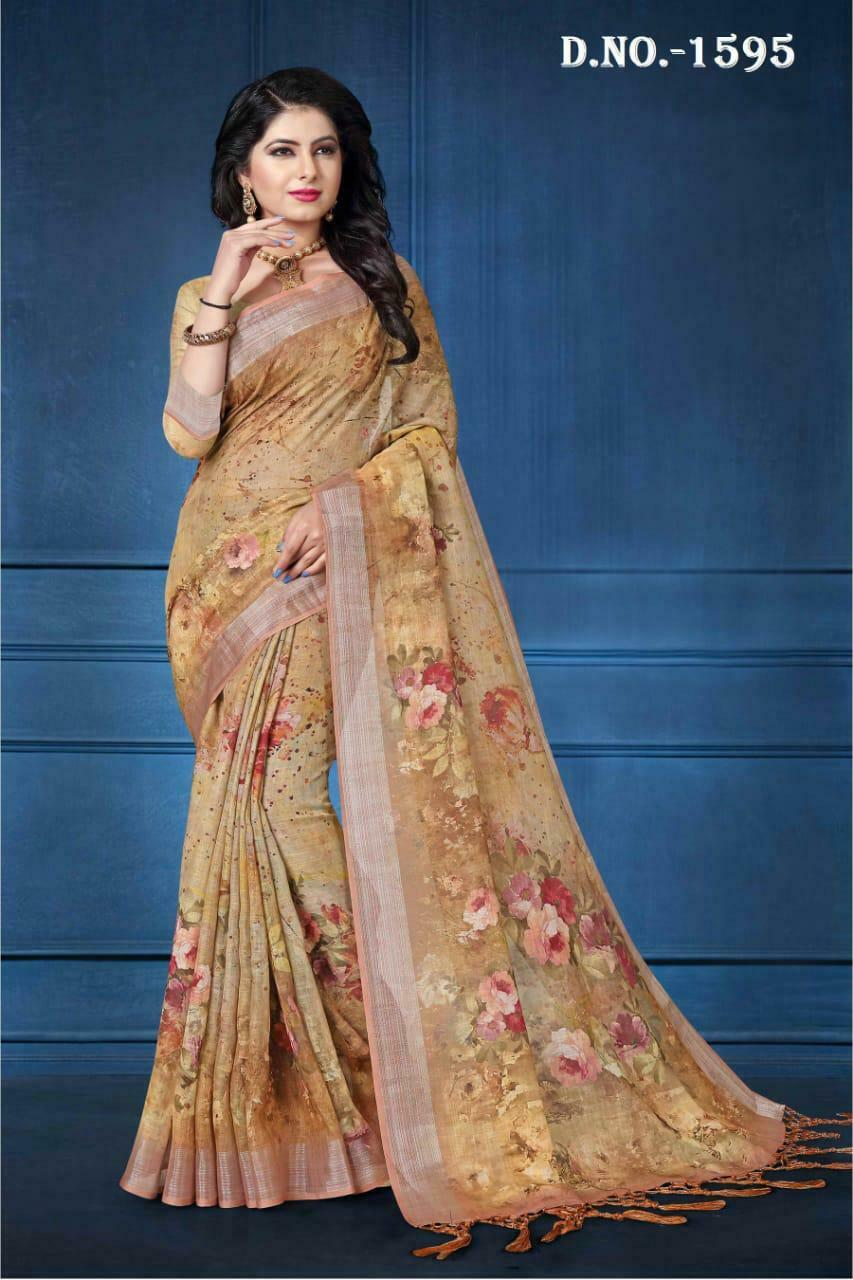 34d29ec66 New Designer Indian Linen Digital Print Saree Pakistani Eid Party Wear Sari  NR10