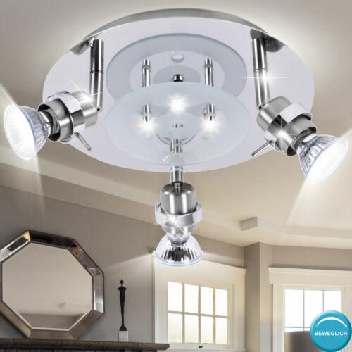 Design LED Decken Leuchte Spot Schlaf Zimmer Glas Rondell Flur Lampe schwenkbar