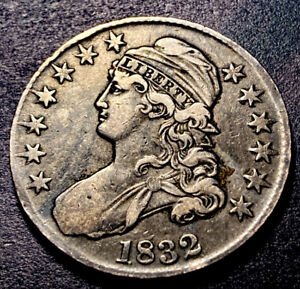 1832 Capped Bust Silver Half Dollar 50c SM Letters O-106 High Grade Type Coin