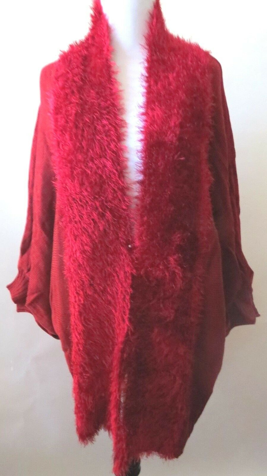 greenigo  Dolman Fuzzy Knit Cocoon Cocoon Cocoon Sweater Crimson  color  Women  Size  L c73e12