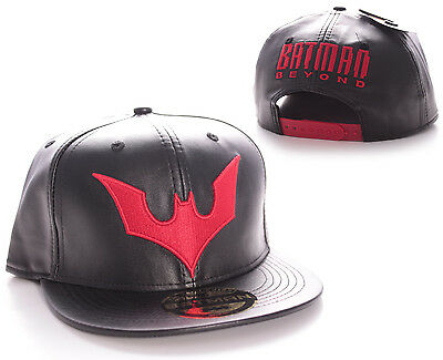 DC COMICS BATMAN BEYOND SYMBOL BLACK LEATHER EFFECT SNAPBACK CAP HAT (BRAND NEW)
