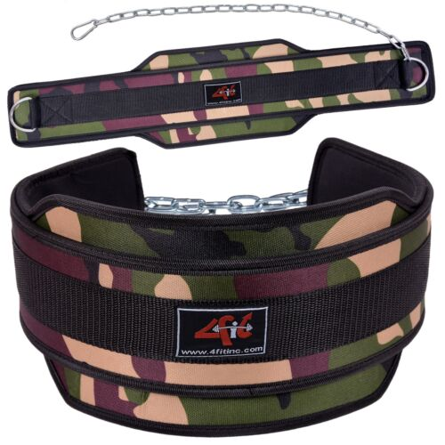 4FIT NEOPRENE DIPPING BELT// WEIGHT LIFTING// DIP BELT WITH METAL CHAIN GREEN CAMO