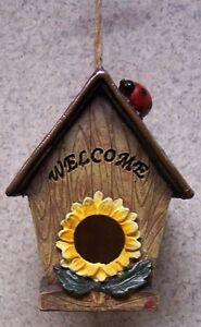 Bird House Sunflower and Ladybug NEW Hang from a hook OR Sit on a ledge