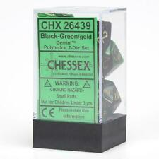 Chessex Gemini Black Green Gold 7 Dice Set 26439 in Stock