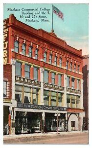 Mankato-Commercial-College-and-5-10-25-Cent-Store-Mankato-MN-Postcard-5L3