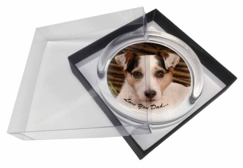 Jack Russell Dog 'Love You Dad' Glass Paperweight in Gift Box Christm, DAD176PW