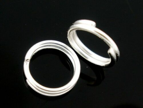 Creation bijoux Lot 50-100 Anneaux double de jonction argenté 5mm colier 5 mm