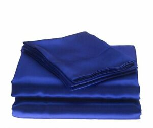 Satin-Silk-Home-Bed-Bedding-Items-All-Sizes-Egyptian-Blue-Solid-800-Thread-Count