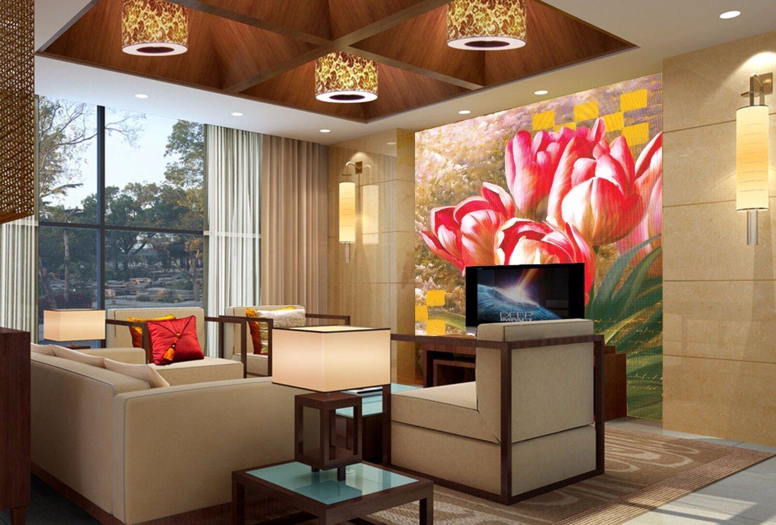 3D Gouache Tulpen 74 Tapete Wandgemälde Tapete Tapeten Bild Familie DE Summer