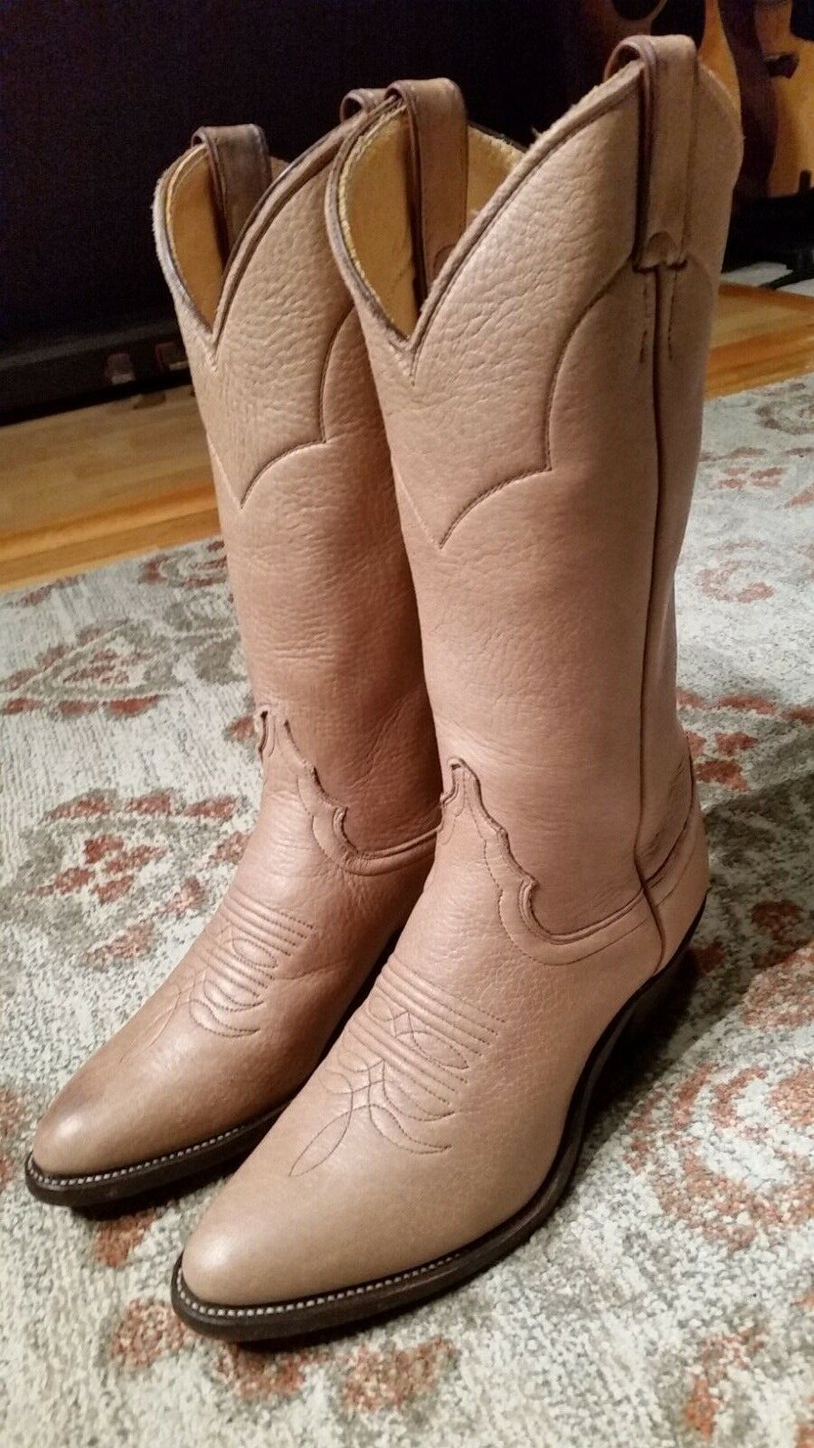 JUSTIN SOFT TAN ELK LEATHER R TOE 13  COWGIRL BOOTS  L4714 WOMEN'S SIZE 7.5