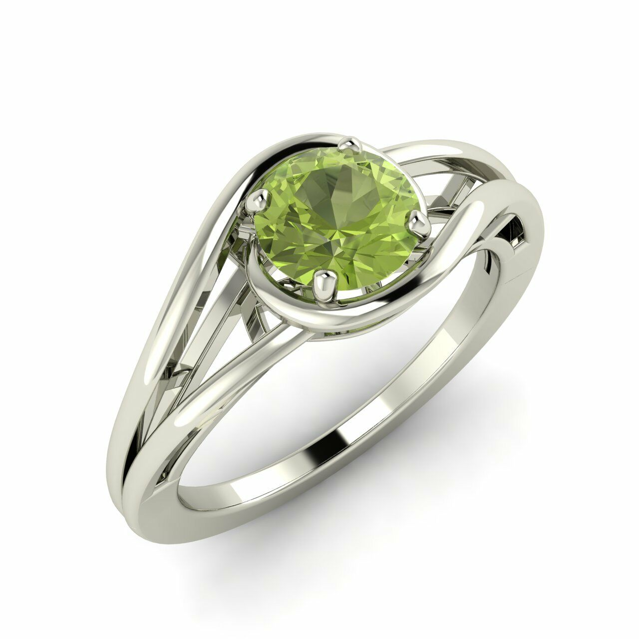 Certified 0.60 Ct Natural Peridot Solitaire Engagement Ring in 14k White gold