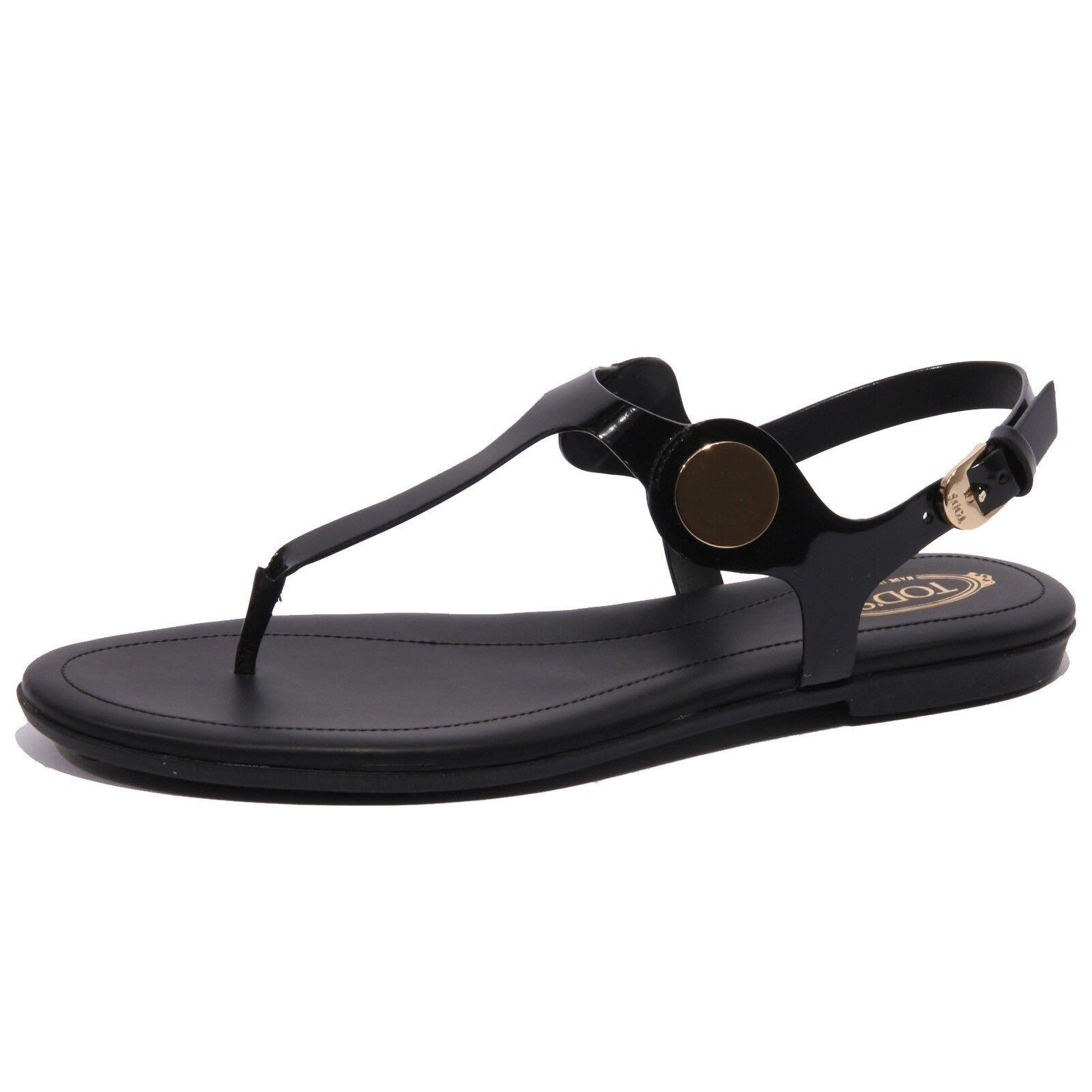 B1559 INFRADITO mujer Tod'S Sandalo negro Ojotas Zapato Mujer