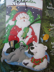 Dimensions Christmas STOCKING FELT Applique Holiday Kit ...