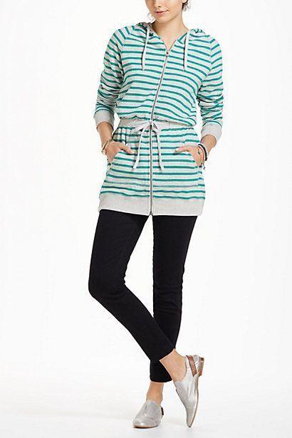 Anthropologie Bordeaux Shipstripe Hoodie sweatshirt tunic green striped sz XS
