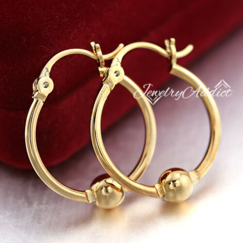 18K PLAIN GOLD FILLED SOLID LADY CLASSIC BEADED ROUND HOOP SLEEPER EARRINGS GIFT