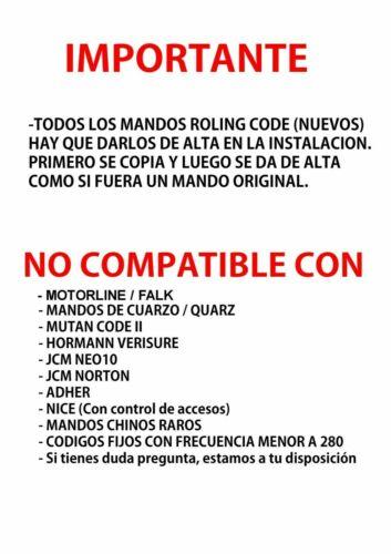 HR MATIC MULTI 2 MANDO GARAJE COMPATIBLE UNIVERSAL MULTI FRECUENCIA Nº1