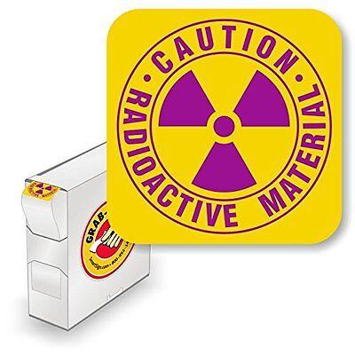 "CAUTION RADIOACTIVE MATERIAL 1 3//4/"" circle  Sticker Label fluor chart 250//rl"