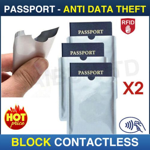 2x sicurezza senza contatto SCUDO protettore per passaporto RFID Blocker Sleeve CASE UK