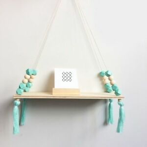Nordic-Style-Wooden-Bead-Tassels-Storage-Rack-Wall-Rope-Hanging-Shelf-Home-Decor