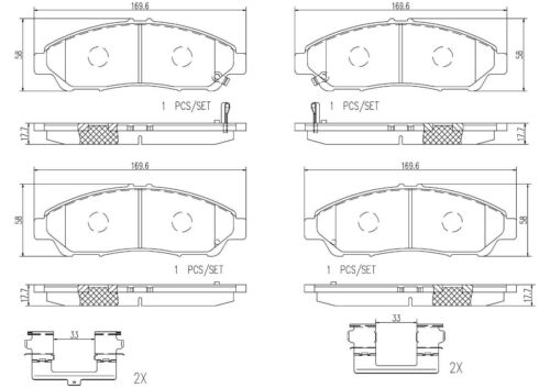 For Acura MDX ZDX Front Disc Ceramic Slotted Brake Pad Set with Hardware Brembo