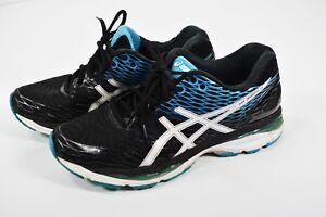 35789efc3f75 ASICS Gel Nimbus 18 Running Shoes Black   White   Island Blue T600N ...