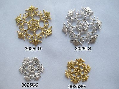 #3025 Golden,Silver Snowflake,Snow Embroidery Iron On Applique Patch