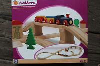 Eichhorn Eisenbahn Set Acht mit Hochstrecke 45 tlg. Holzeisenbahn Holz Zug NEU