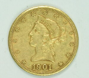 1901 S 10 Dollar Gold Liberty Head Us Mint Eagle Coin Ebay