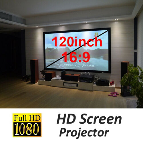 """120/"""" 16:9 Projector Projection Portable Screen Matte White Pull Down Home Movie"""
