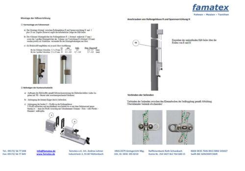 Hissvorrichtung für  Fahnenmast mit 15 Meter Seil und 5 Kunststoffkarabiner