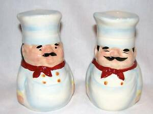 NEW-HANDPAINTED-WHITE-CERAMIC-CHEF-amp-COOK-SALT-AND-PEPPER-S-amp-P-SHAKER