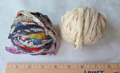 2pc Vtg Antique Authentic Colorful Feedsack Rag Ball & Cotton Muslin Handmade