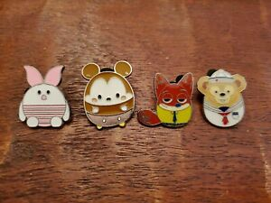 Disney-Trading-Pins-Egg-Shaped-Mickey-Piglet-Nick-Wilde-Duffy-Lot-of-4