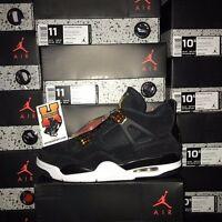Nike Air Jordan IV Retro 4 Royalty 2017 Black Gold White 308497-032 SZ:4y-14