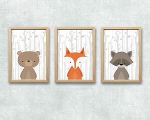 Bild Set Wald Tiere Kunstdruck A4 Bär Fuchs Waschbär Kinderzimmer
