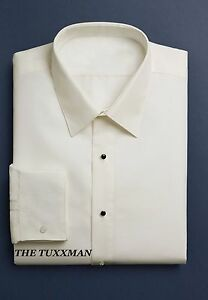 New Mens Ivory Off White Spread Collar Slim Fit Plain Tuxedo Shirt Wedding Groom