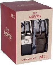 Levi's 2pc Genuine Leather Reversible Classic Belt Set, Brown & Black, XL, 42-44