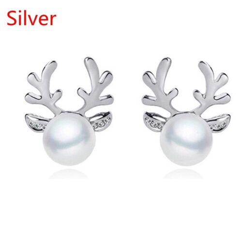 1Pair Christmas Xmas Gift Pearl Deer Earrings Reindeer Ear Stud Fashion Jewelry