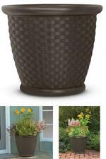 Large Planter Pot Garden Flower Round Brown Wicker Resin Durable 2 Pk New 22 In