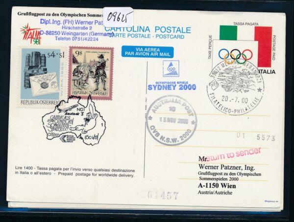 09625) Lauda Olympiades Pour Lp Vienne-sydney 15.9.2000, Gr. So-ga Italie Design Professionnel