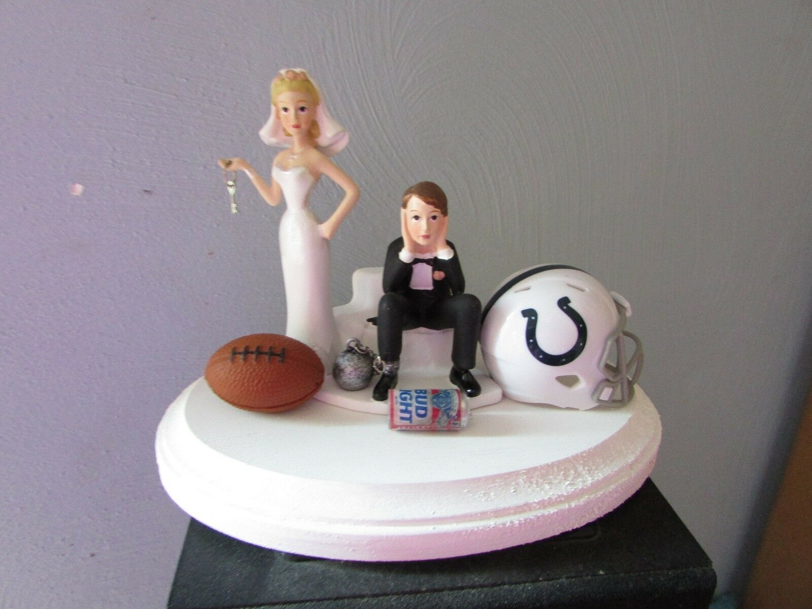 Indianapolis Colts Cake Topper Bride Groom Wedding day Funny Football Theme