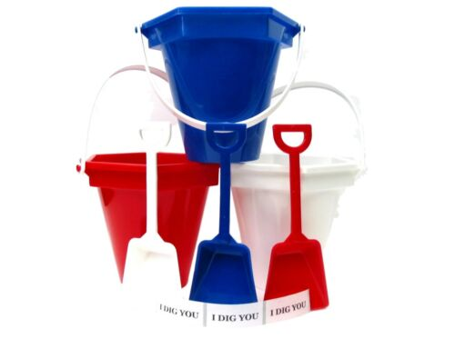 3 Small Sand Buckets, Shovels,I Dig You Stickers 1 ea Red White Blue Mfg in USA*