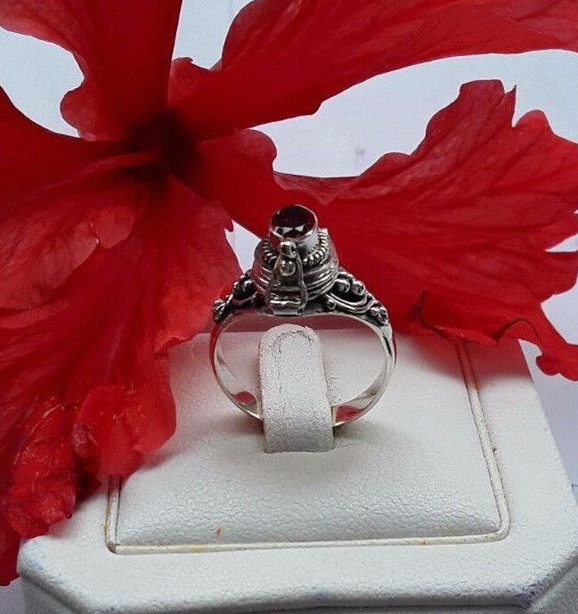 AGNES CREATIONS    BAGUE OUVRANTE POISON A SECRET silver 925 & GRENAT size 54